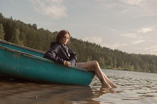 Boat, Girl, Forest, Model, Journey, Beach, Landscape