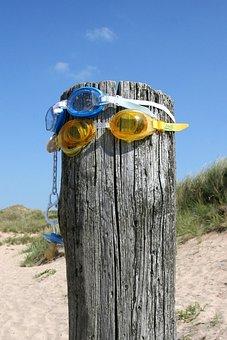 Badespass, Beach, Diving Mask, Sweden, Summer, Sea