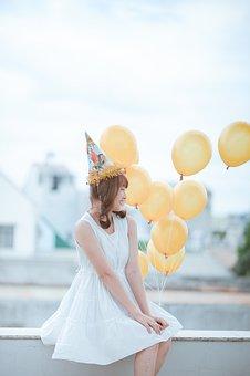 Birthday, Ballons, Happy, Day, Girl, Female, Fashion