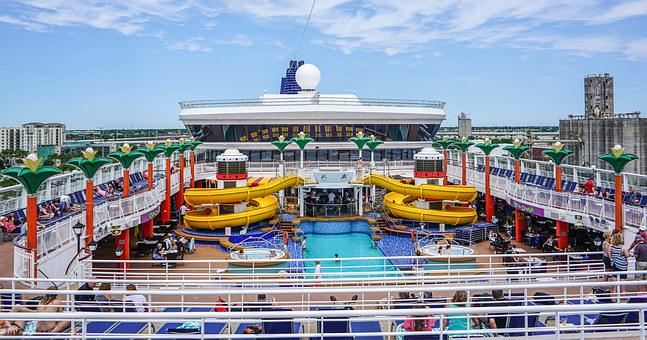 Cruise Ship, Pool, Slide, Travel, Water, Boat, Tourism