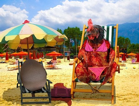 Chicken, Barbecue Chicken, Egg, Beach, Brown, Sand