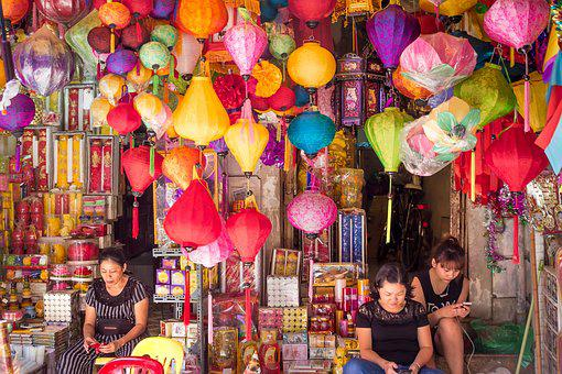 Lamps, Shop, Woman, Business, Colors, Selection, Range