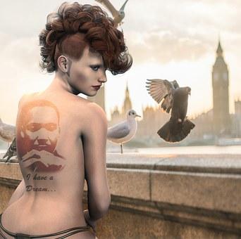 Woman, Balcony, Birds, City, Urban, Tattoo, Girl