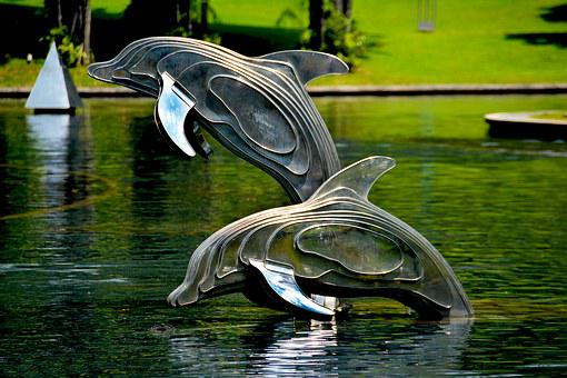 Dolphins, Sculpture, Statue, Architecture, Monument