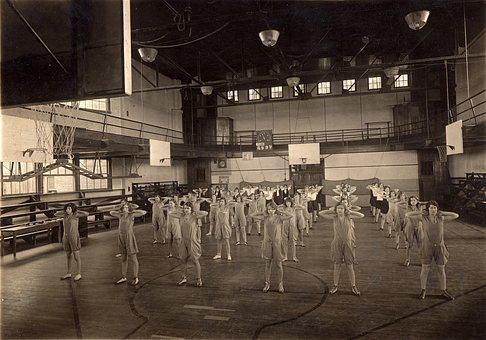 Gym, Gym Class, 1940's, Fitness, Exercise, People