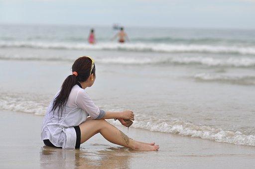 Girl, Beach, Sad, Summer, Vacation, Female, People