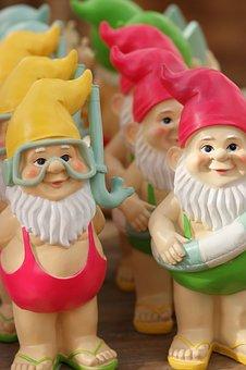 Garden Gnomes, Colorful, Garden, Peace, Summer, Mood