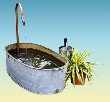 Garden, Bath, Watering Can, Bucket, Water, Vessel