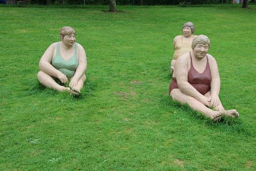 Sculpture, Meadow, Relax, Ladies, Women, Green, Pond