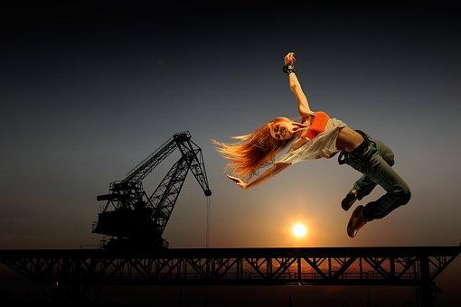 Joyful Leap, Woman, Jeans, Acrobatics, Human, Beautiful
