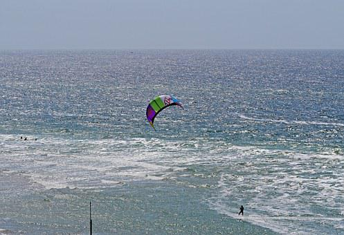 Sylt, Summer, Kite Surfing, Sail, Swim, Beach, Sandbar