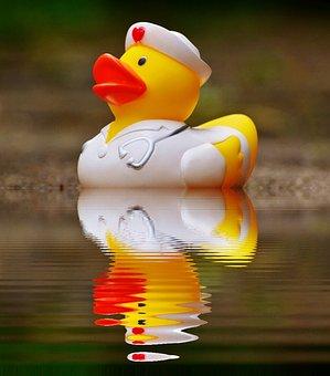 Rubber Duck, Bath Duck, Mirroring, Water, Nurse