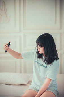 Girl, Bedroom, Selfie, Female, Fashion, Style, Model