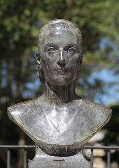 Sculpture, Bust, Bronze, Eva Peron, Museum, Park