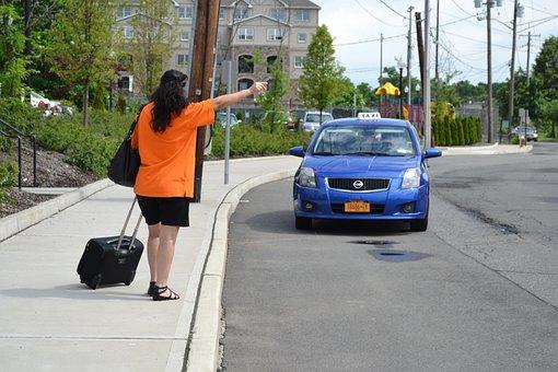 Taxi, Asking Cab, Taxi Calling, Women, Pasanger