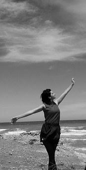 Women, Sky, Harmony, Peace, Sea, Beach, Black And White
