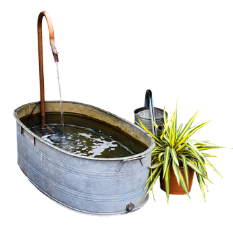 Garden, Bath, Watering Can, Bucket, Png, Isolated