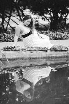 Pregnant, Reflection, Pond, White, Woman, Young
