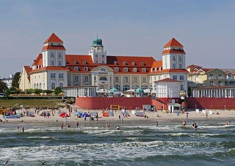 Rügen, Binz, Kurhaus, Baltic Sea, Beach, Swim, Surf