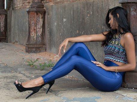Women, Sets, Metallized, Model, Heels, Ruins, Ground