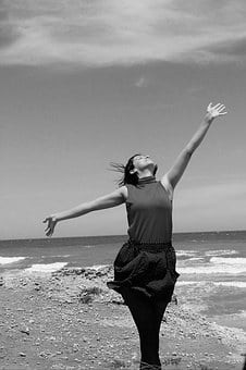 Women, Harmony, Peace, Sea, Beach, In Black And White