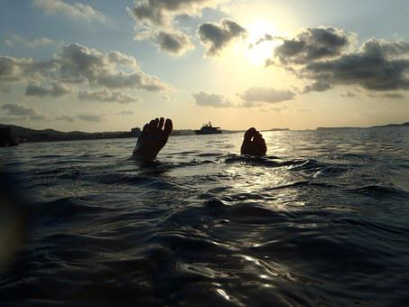Ibiza, Mediterranean, Sea, Water, Feet, Clouds, Sky