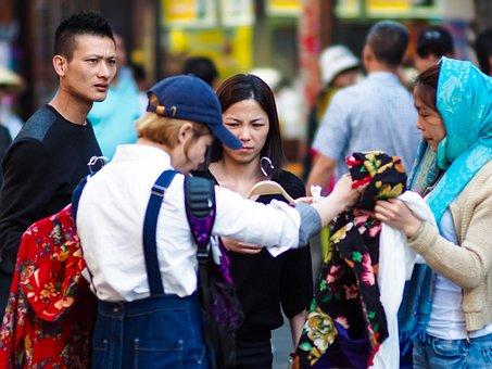 Women, Sell, Market, Clothing, Job, Earn Money, Dali