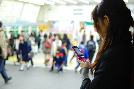 Women, Mobile Phone, Shibuya Station