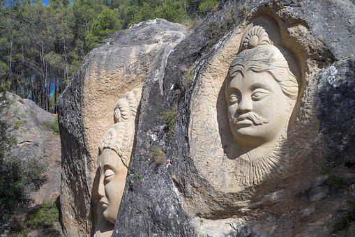 Faces, Sculpture, Stone, Buddha, Face, Carving