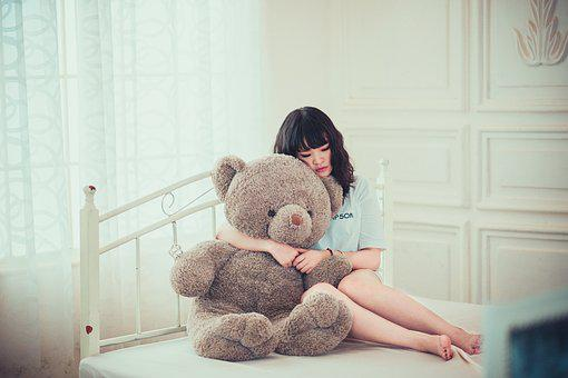 Girl, Bedroom, Bear, Toy, Teddy Bear, Female, Fashion