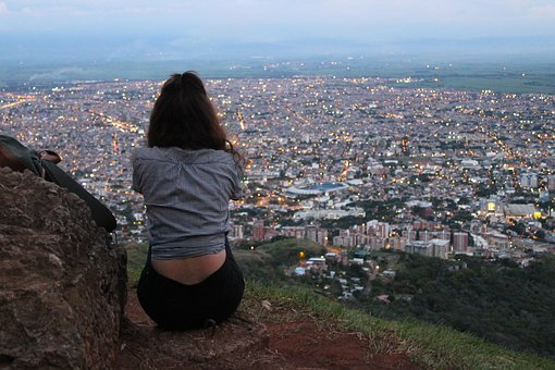 City, View, Women, Back, See, Top, Eveninf, Darkness