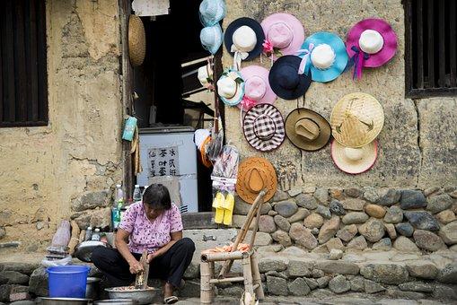 Hat, Village, People, Travel, Women, Female, Looking