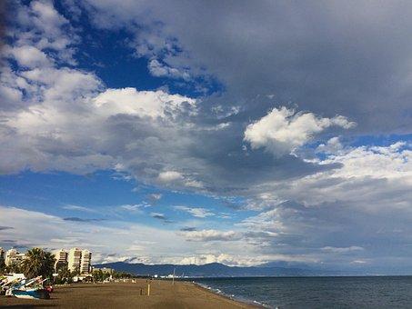 Sea, Horizon, Clouds, Sky, Sand, Walk, Waves, Beach