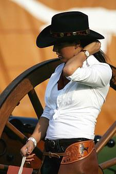 Cowgirl, Cowboy Hat, Wagon Wheel, Western, Hat, Young