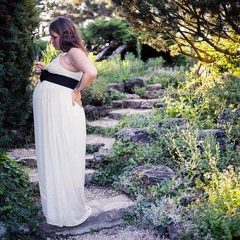 Pregnant, Garden, Summer, White, Woman, Young