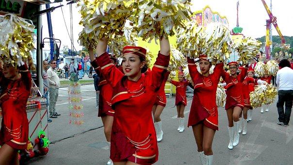 Majorettes, Girls, Funfair, Feast, Women, Woman, Female