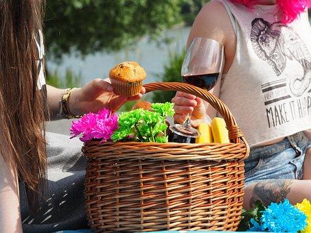 Picnic, Basket, Colors, Wine, Red Wine, Women, Girls