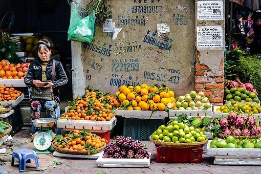 Fair, People, Women, Oranges, Apples, Advertising, Wall