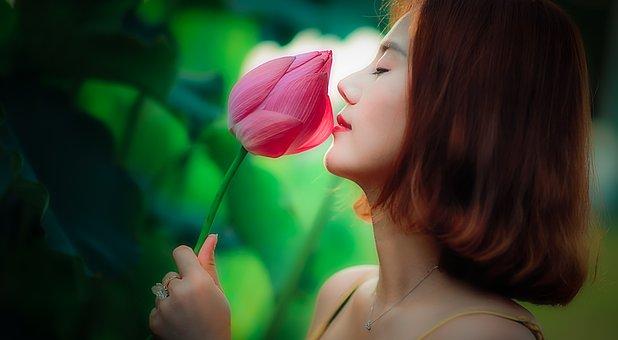 Vietnam, Girl, Women, Sunny, Flower, Long Coat, Young