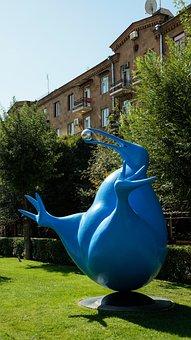 Art, Sculpture, Bird, Kiwi, Blue, Ball, Metal, Modern