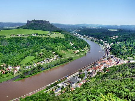 Panoramic View To The Lilienstein, Elbe, Königstein