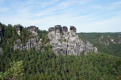 Mountains, Trees, Elbe Sandstone Mountains