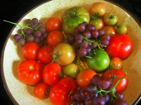 Fruit Bowl, Vegetables, Fruits, Tomatoes, Grapes