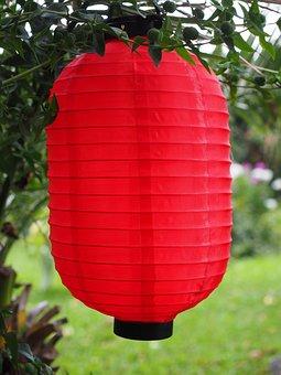 Lampion, Paper Lantern, Red, Garden, Gartendeko