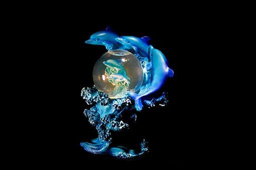 Fish, Ball, Glass Ball, Blue, Photo Effect, Dolphin