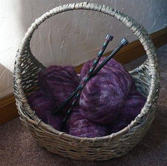 Mohair Yarn In A Basket, Yarn, Basket, Knitting Needles