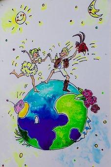 Image, Globe, Earth, Sun, Moon, Woman, Man, Humanity