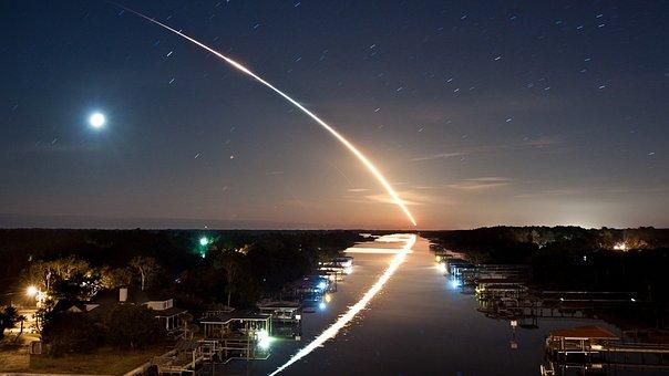 Night, Meteor, Moon, Sky, Fallen Stars, Reflection