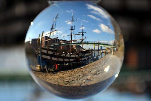 Glass Ball, Spherical Photography, Ship, Sailing Vessel
