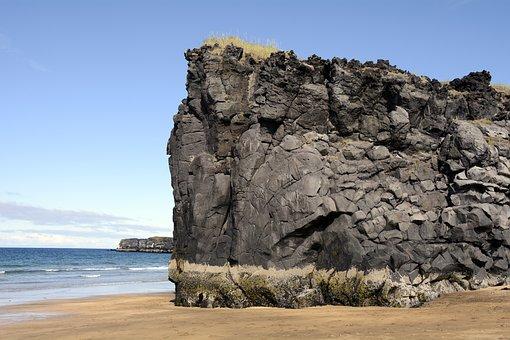 Skardisvik, Beach, Volcanic Rock, Sea, Rock